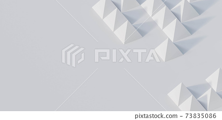 Abstract white color geometrical pyramid figures composition 3d render illustration 73835086
