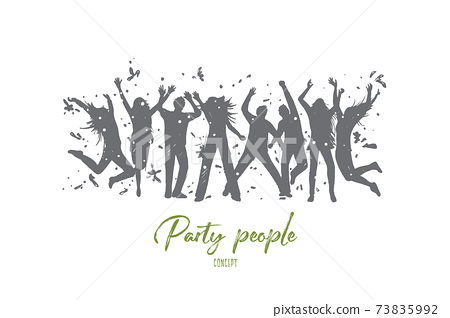 Party people concept. Hand drawn isolated vector. 73835992