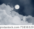 A beautiful illustration view of fullmoon and clouds on the sky.  73836320