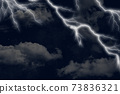 A beautiful and magical view of a lightning and clouds on the sky. illustration.  73836321