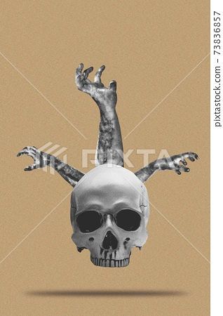 Collage of zombie hand from skull head 73836857