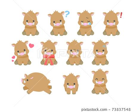野豬插畫素材 73837548