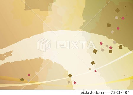 五彩紙屑和畫筆描邊-日本金色背景 73838104