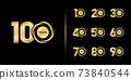 Set of anniversary logotype. Golden anniversary celebration emblem design. 73840544