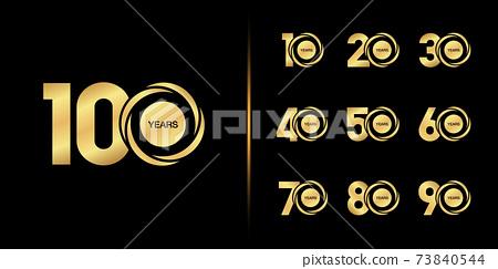 Set of anniversary logotype. Golden anniversary celebration emblem design. 73840544
