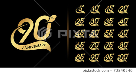 Set of anniversary logotype. Golden anniversary celebration emblem design. 73840546