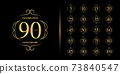 Set of anniversary logotype. Golden anniversary celebration emblem design. 73840547