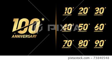 Set of anniversary logotype. Golden anniversary celebration emblem design. 73840548