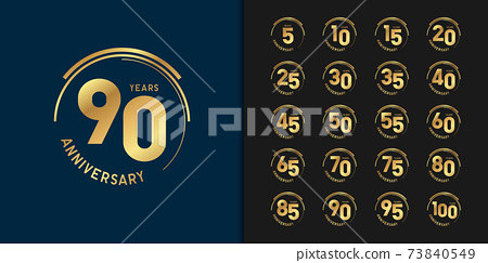 Set of anniversary logotype. Golden anniversary celebration emblem design. 73840549