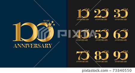 Set of anniversary logotype. Golden anniversary celebration emblem design. 73840550