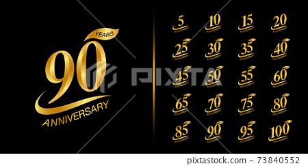 Set of anniversary logotype. Golden anniversary celebration emblem design. 73840552