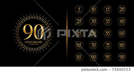 Set of anniversary logotype. Golden anniversary celebration emblem design. 73840553