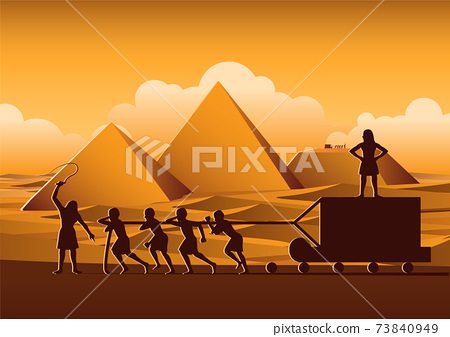 Building Pyramid in Egypt in ancient time use men to be slave the whole day,cartoon version 73840949