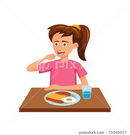 flat design of cartoon character of woman is eating 73840957