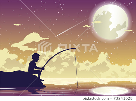 People avtivity and life scene of tha boy is sitting to fishing 73841029