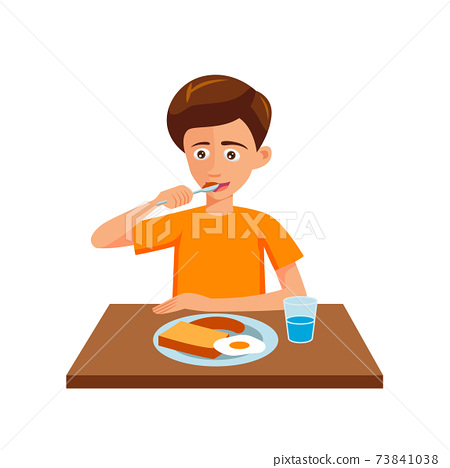 flat design of cartoon character of man is eating 73841038