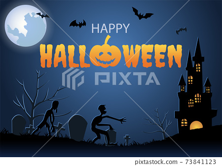 Halloween background with graveyard scene and mummy on Halloween night 73841123