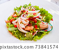 Closeup Thai spicy and sour seafood salad 73841574