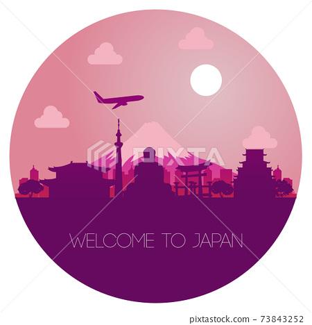 Japan landmark silhouette design in circle shape 73843252
