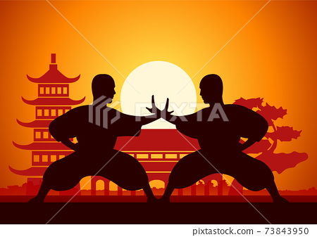 Chinese Boxing Kung Fu martial art famous sport,monk Train to fight 73843950