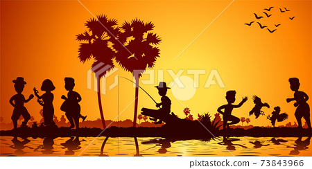 sunset landscape and Buddha Thai temple with a rowing boat around with tree.countryside of east lifestyle 73843966