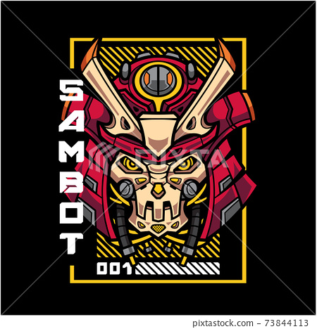 Samurai robot head mascot logo  73844113