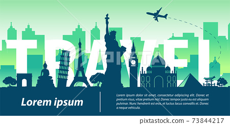 world famous landmark silhouette style,travel text within,trip and tourism 73844217