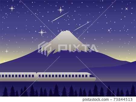 train run past Mount Fuji at night scene famous landmark of Japan 73844513
