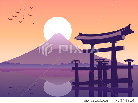 The Torii famous landmark of Japan,silhouette style 73844514