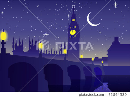 Big Ben clock famous landmark of England London,night scene 73844529