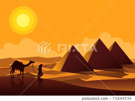 Sphinx and Pyramid famous landmark of Egypt,cartoon version 73844534