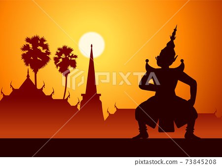 Thai ancient literature play of Ramaya called pantomine king of giant is angry,silhouette style 73845208