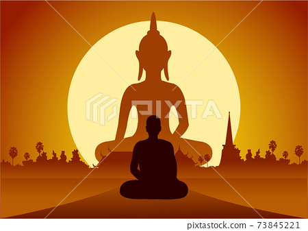 monk meditation front of big image of temple Buddha statue and temple at sunset time 73845221