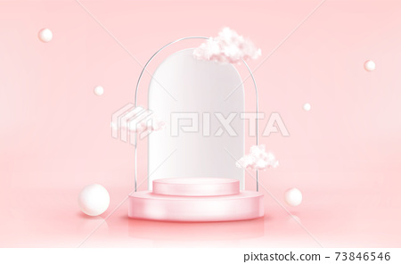 Podium with clouds, abstract background, pedestal 73846546