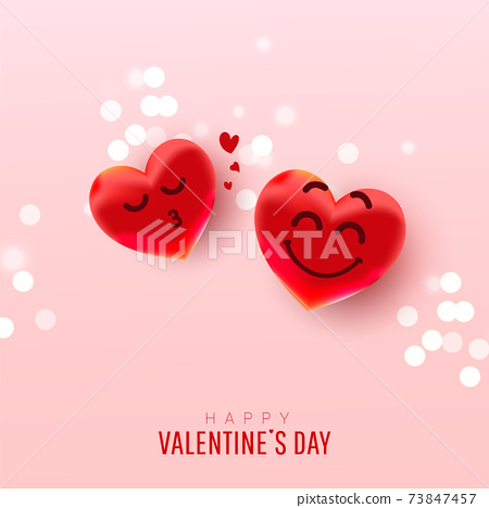 Valentine's day abstract background with heart balloons with cute faces gives an air kiss on pink background 73847457