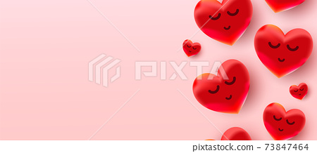 Valentines day sale background with air foil red balloons hearts pattern. Wallpaper, flyers, invitations, posters, brochures, banners. 73847464