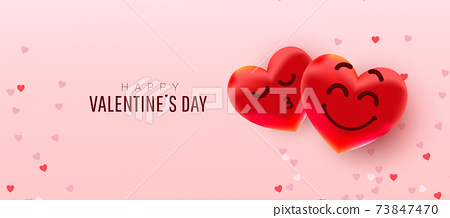 Valentine hearts shape balloons with cute faces on pink background. Wallpaper, flyer, invitation, poster, brochure, banner. 73847470