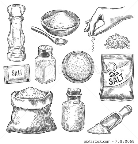 Salt sketch. Hand drawn spoon, bowl and bag with sea salting crystals for bath or cook. Salt shaker and arm with spice, engraving vector set 73850069