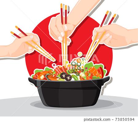 Shabu Shabu and Sukiyaki in hot pot at restaurant,  Hand holding chopsticks eating Shabu  shabu 73850594