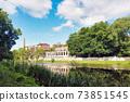 Old factory ruins on city riverbank in Kaliningrad 73851545