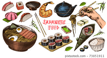 Japanese food set. Sushi bar, ramen noodles, soup in a bowl, roll and dessert, Asian tea. Soy sauce 73851911