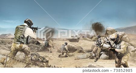Soldiers fighting on desert scene. 73852985
