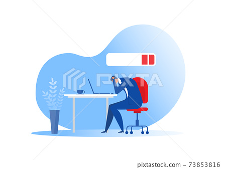businessman office worker sleeping at the table with low battery. syndrome,mental health problems,hard work concept vector 73853816