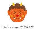 蠟筆觸摸紅色惡魔的臉圖 73854277