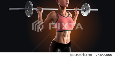 3d model of woman lifting barbell 73855000
