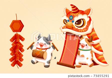 CNY lion dance performance element 73855291