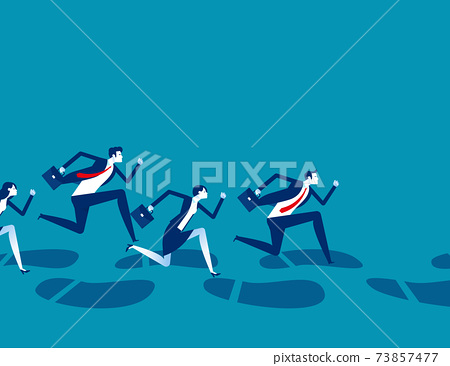 A group of business people running along huge footprints 73857477