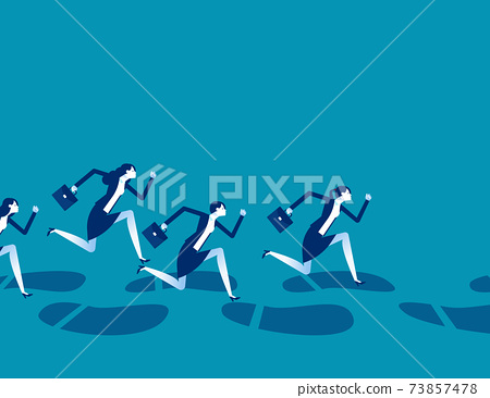 A group of business people running along huge footprints 73857478