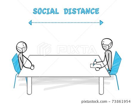 감염증 대책과 소셜 디스턴스 테이블 너머로 앉아 2 명 73861954