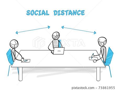 감염증 대책과 소셜 디스턴스 테이블 너머로 앉아 3 명 73861955